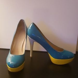 Teal, yellow and white pumps